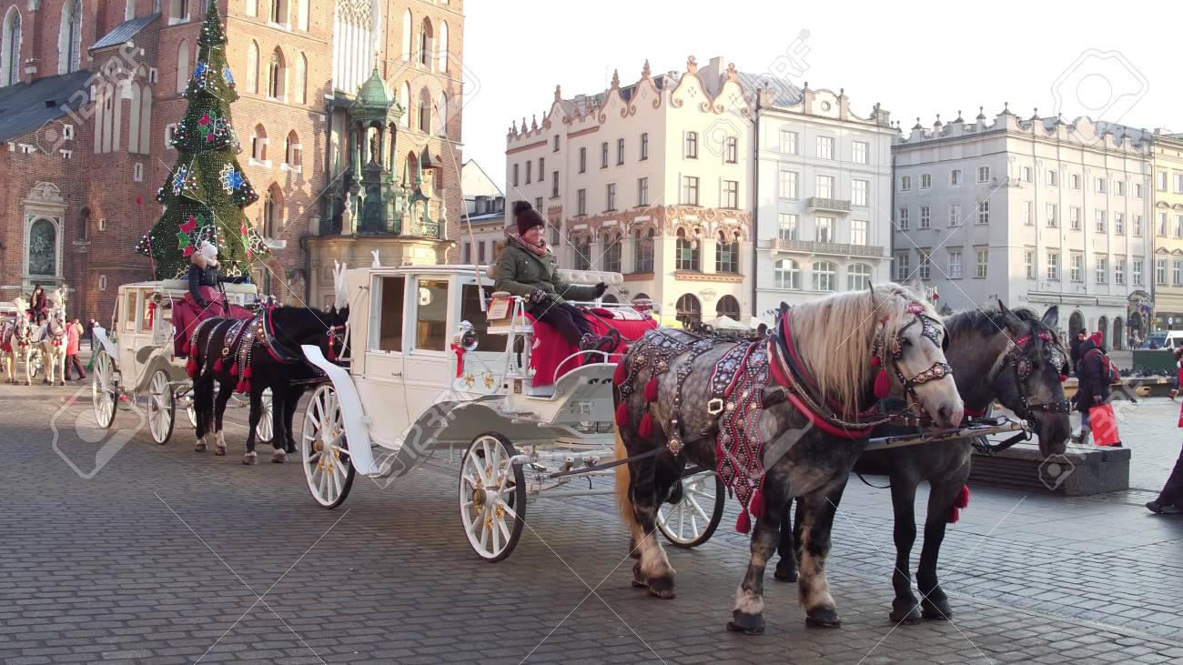 Krakow Poland January 14 2017 Horse Drawn Carriages And Stock Photo Picture And Royalty Free Image Image 70598768