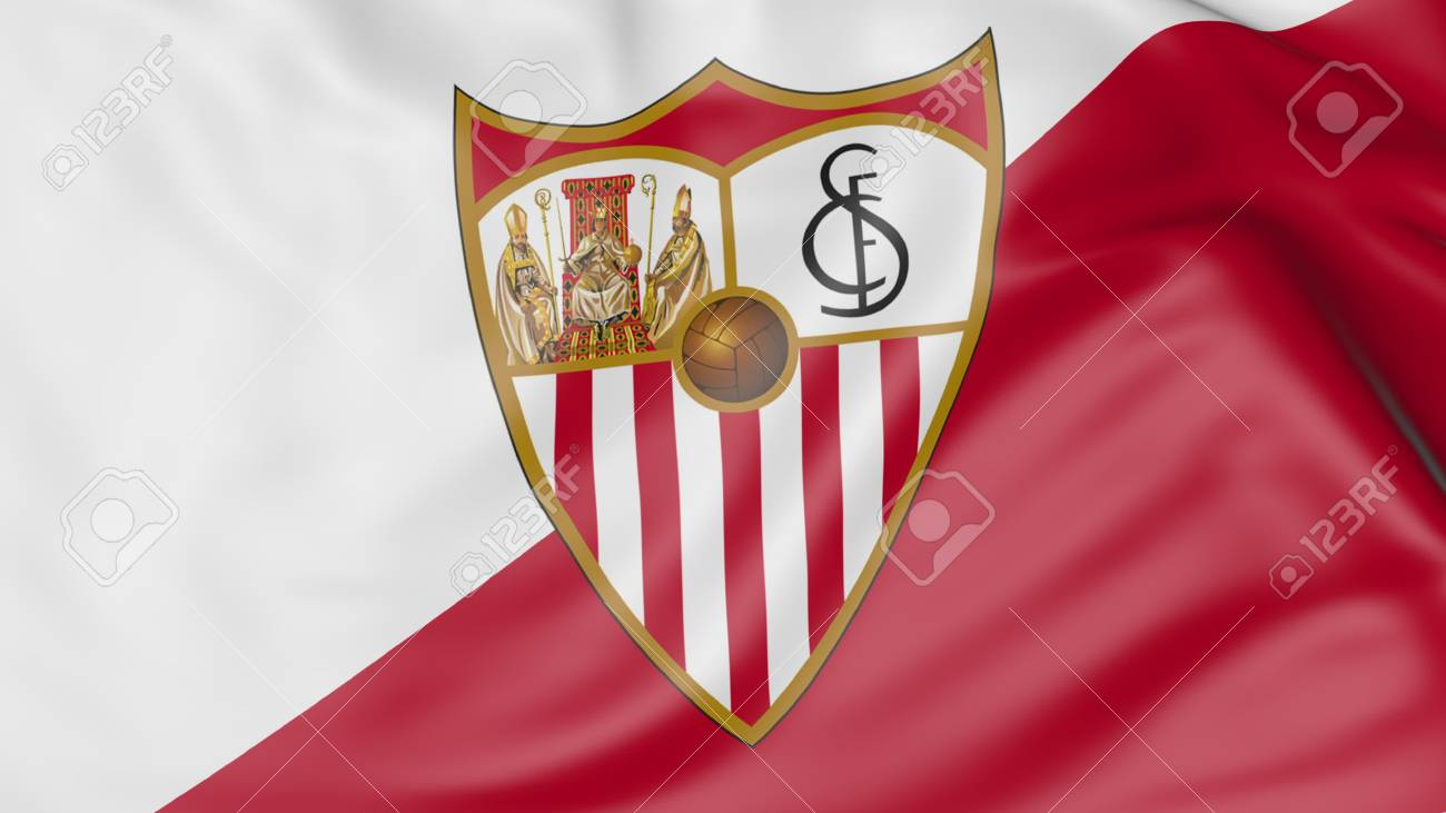Close Up Of Waving Flag With Sevilla Fc Football Club Logo Stock Photo Picture And Royalty Free Image Image 70598779