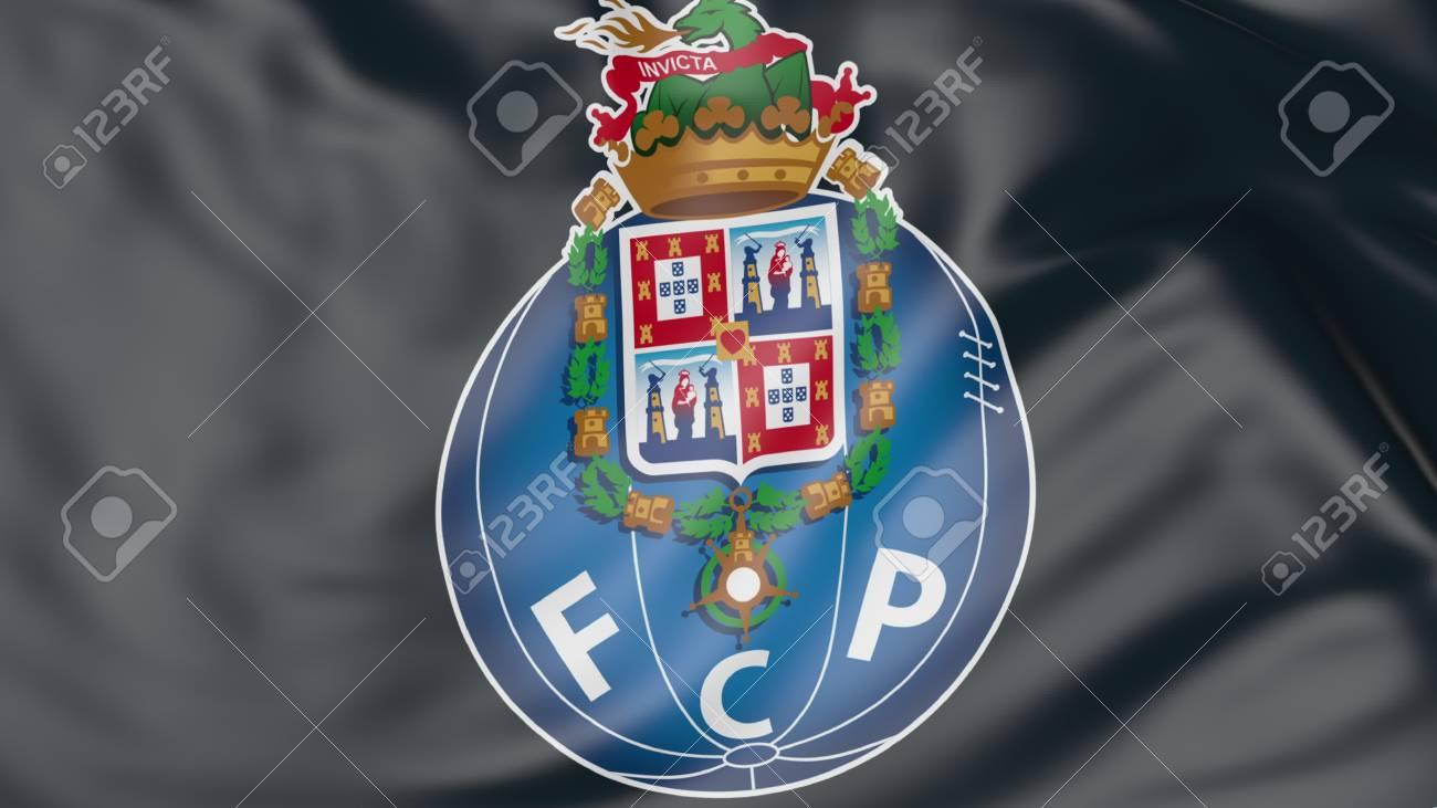 43ffe94b3f6 Close-up of waving flag with FC Porto football club logo Stock Photo -  70598790