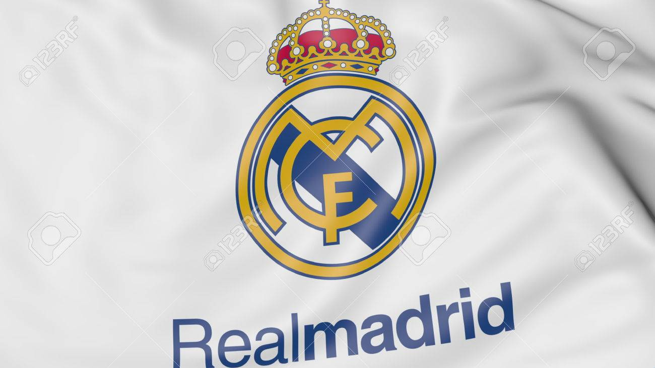 Close-up of waving flag with Real Madrid C F  football club logo