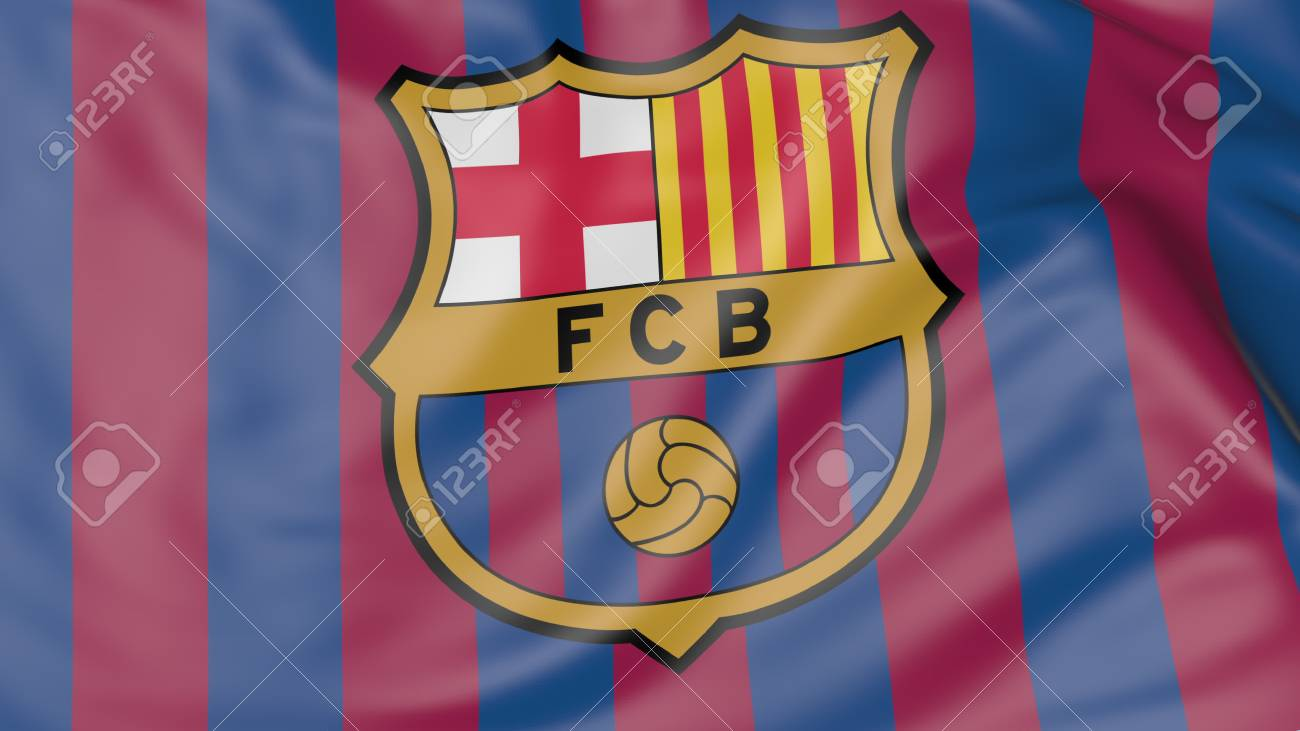 close up of waving flag with fc barcelona football club logo stock photo picture and royalty free image image 70598794 close up of waving flag with fc barcelona football club logo