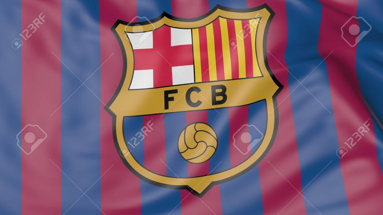 Foto de archivo - Primer plano de la bandera ondeando en el FC Barcelona 64c76e2023b
