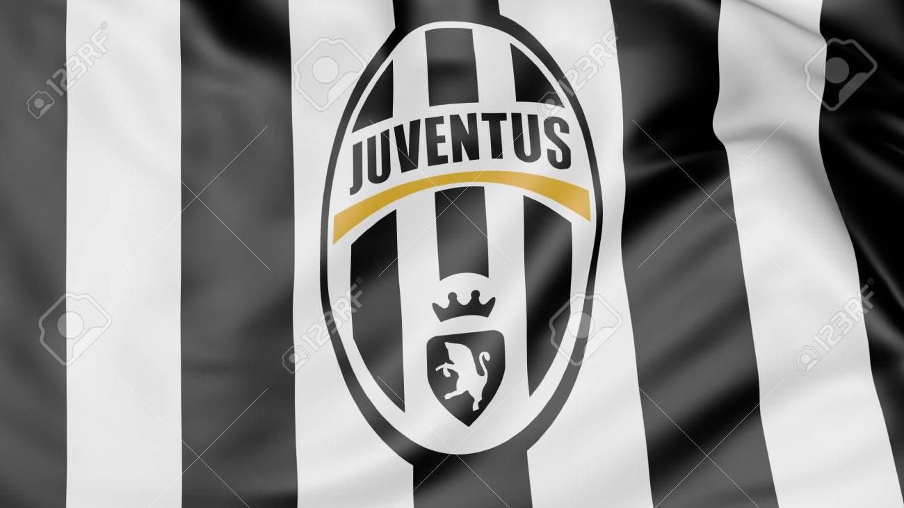 3c2061d10b6 Close-up of waving flag with Juventus F.C. football club logo Stock Photo -  70598795