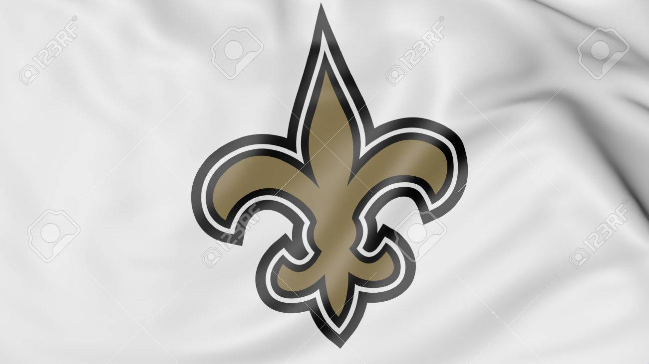 Close Up Of Waving Flag With New Orleans Saints Nfl American Stock