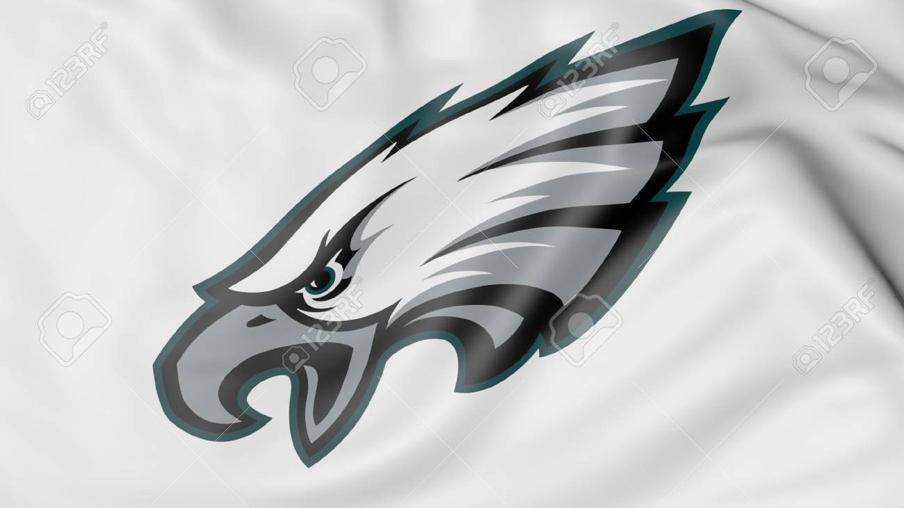 Close Up Of Waving Flag With Philadelphia Eagles Nfl American