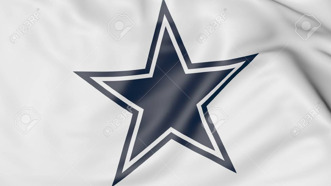 Close Up Of Waving Flag With Dallas Cowboys Nfl American Football