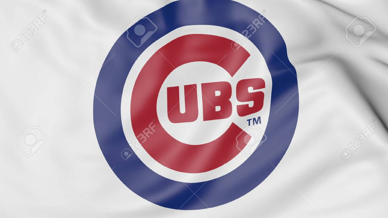 Close up of waving flag with chicago cubs mlb baseball team logo close up of waving flag with chicago cubs mlb baseball team logo 3d rendering buycottarizona