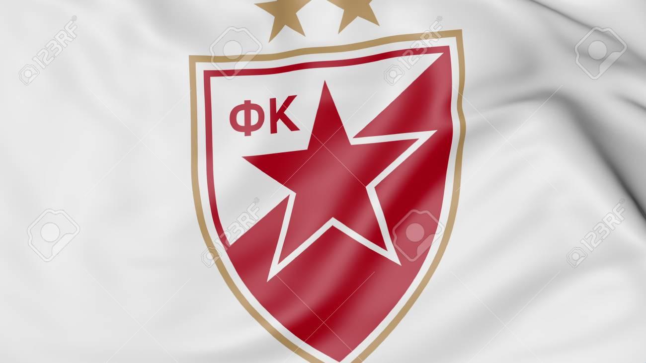 Close Up Of Waving Flag With Crvena Zvezda Football Club Logo
