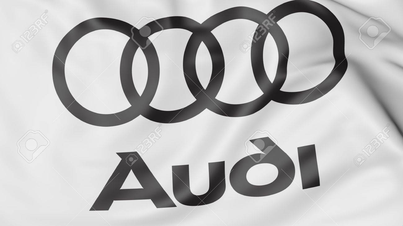 Close Up Of Waving Flag With Audi Logo Editorial 3d Rendering Stock
