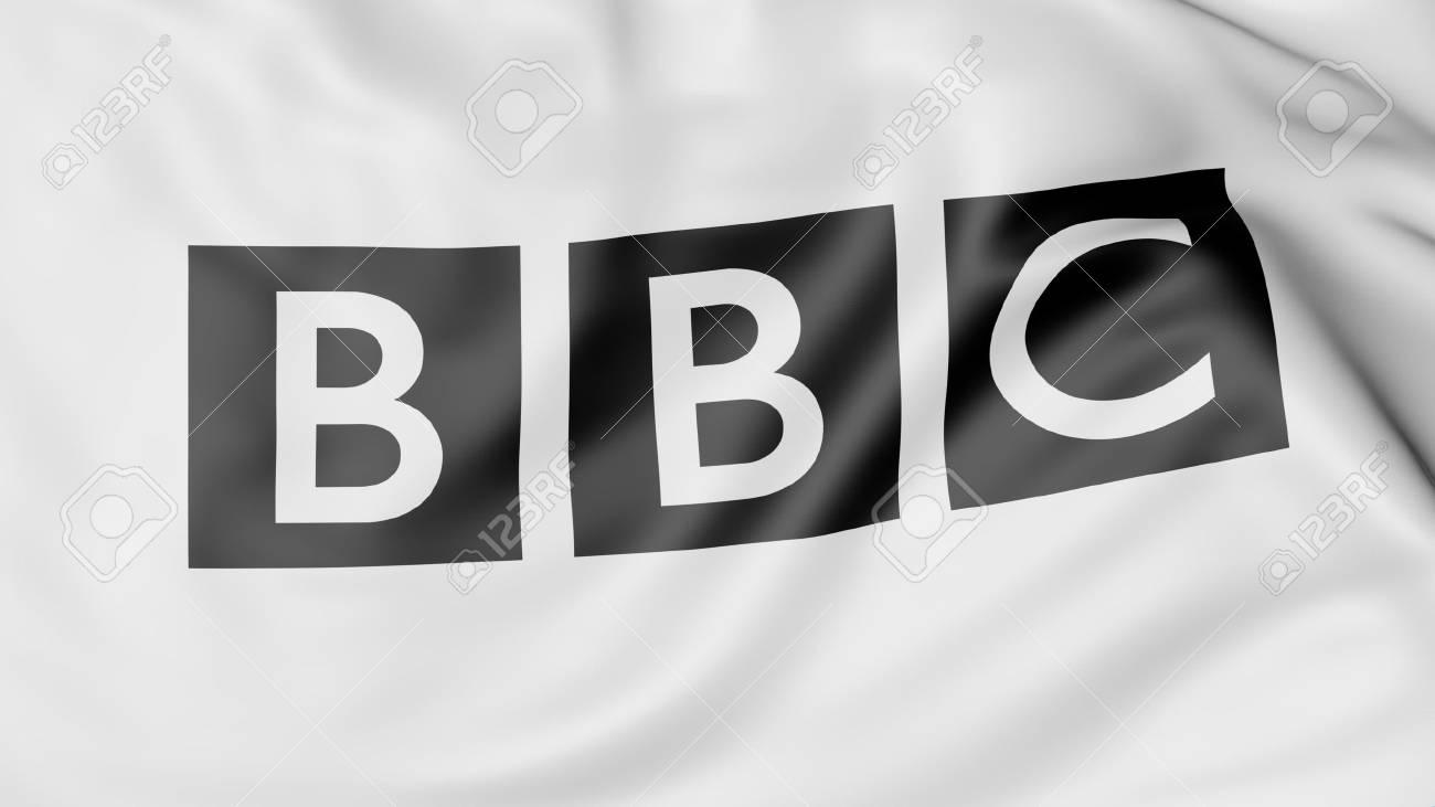 英国放送協会 BBC のロゴと旗を...