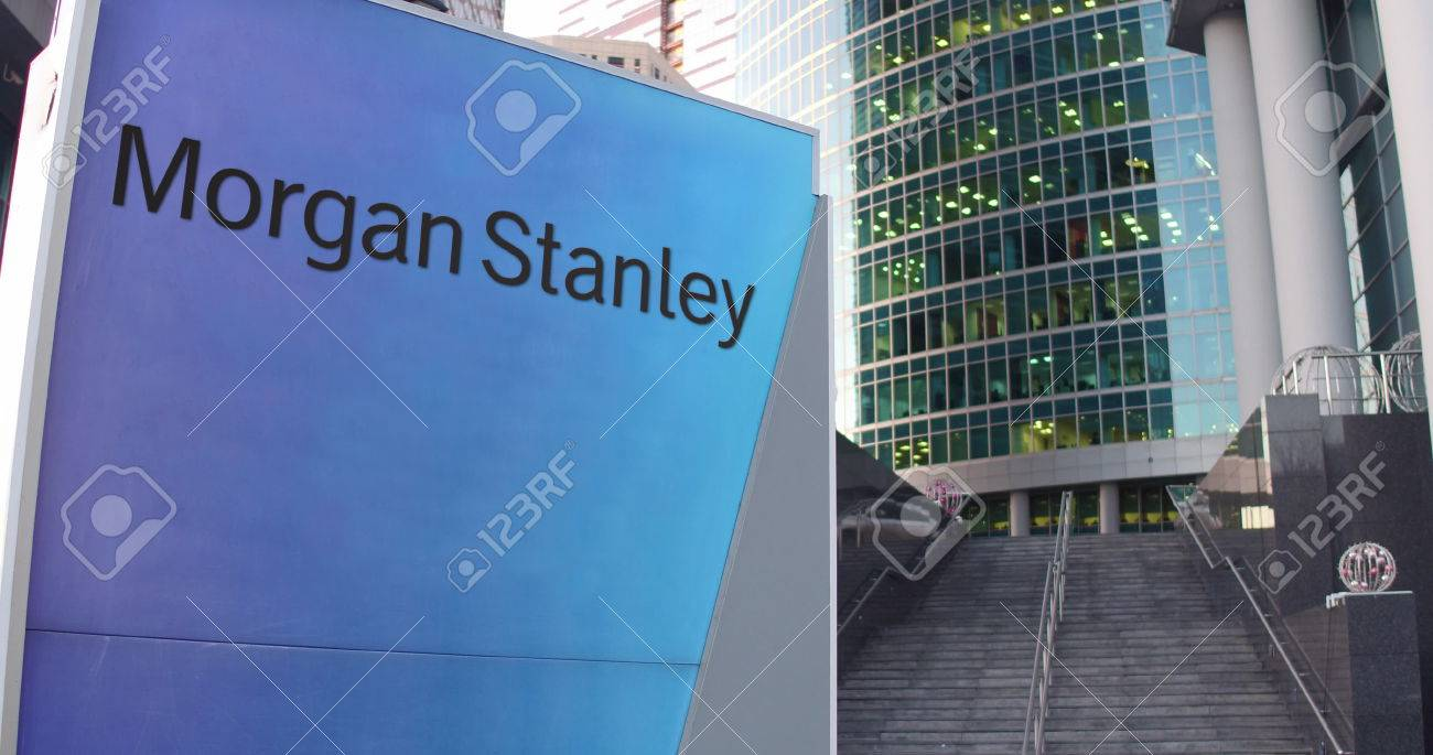 Street signage board with Morgan Stanley Inc  logo  Modern office