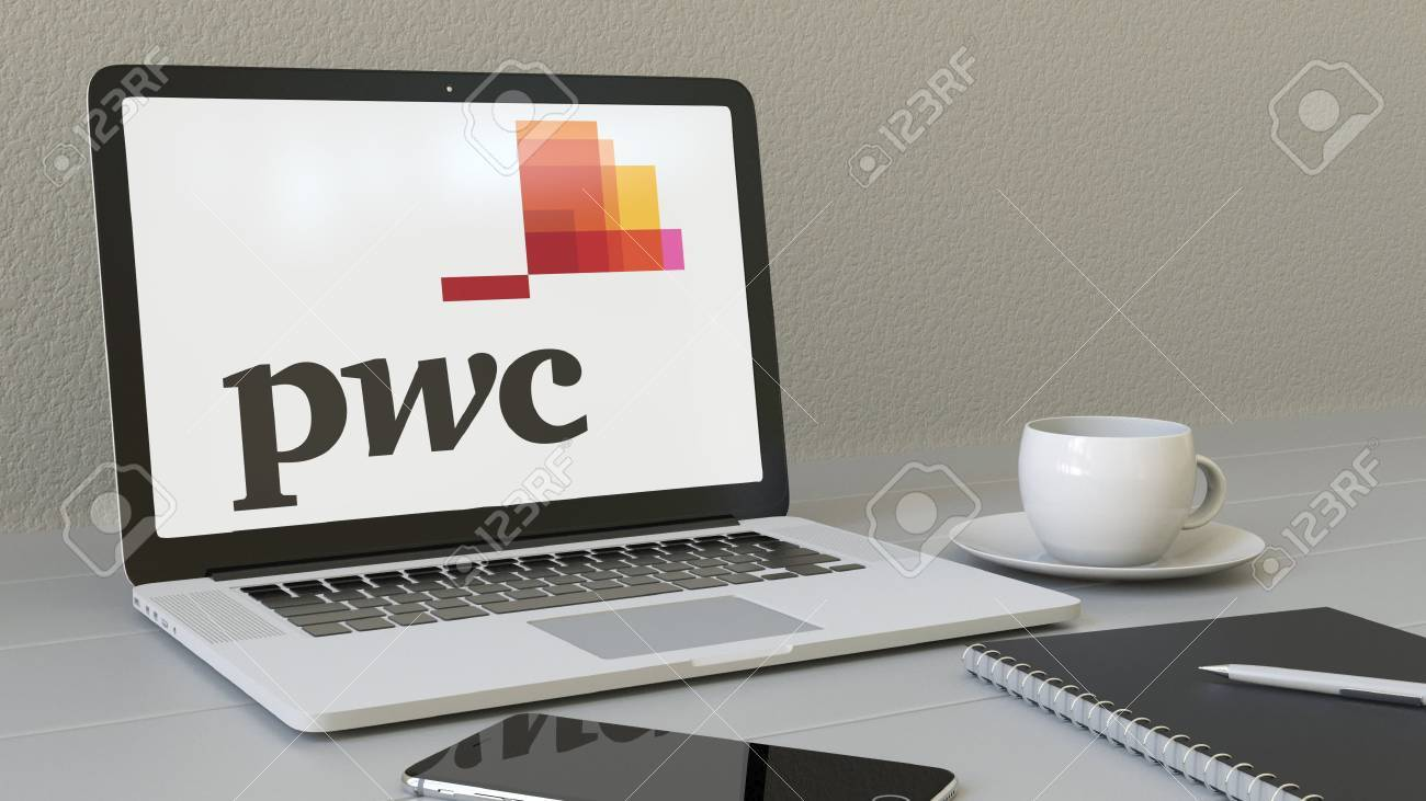 Laptop With PricewaterhouseCoopers PwC Logo On The Screen. Modern Workplace  Conceptual Editorial 4K Animation Stock
