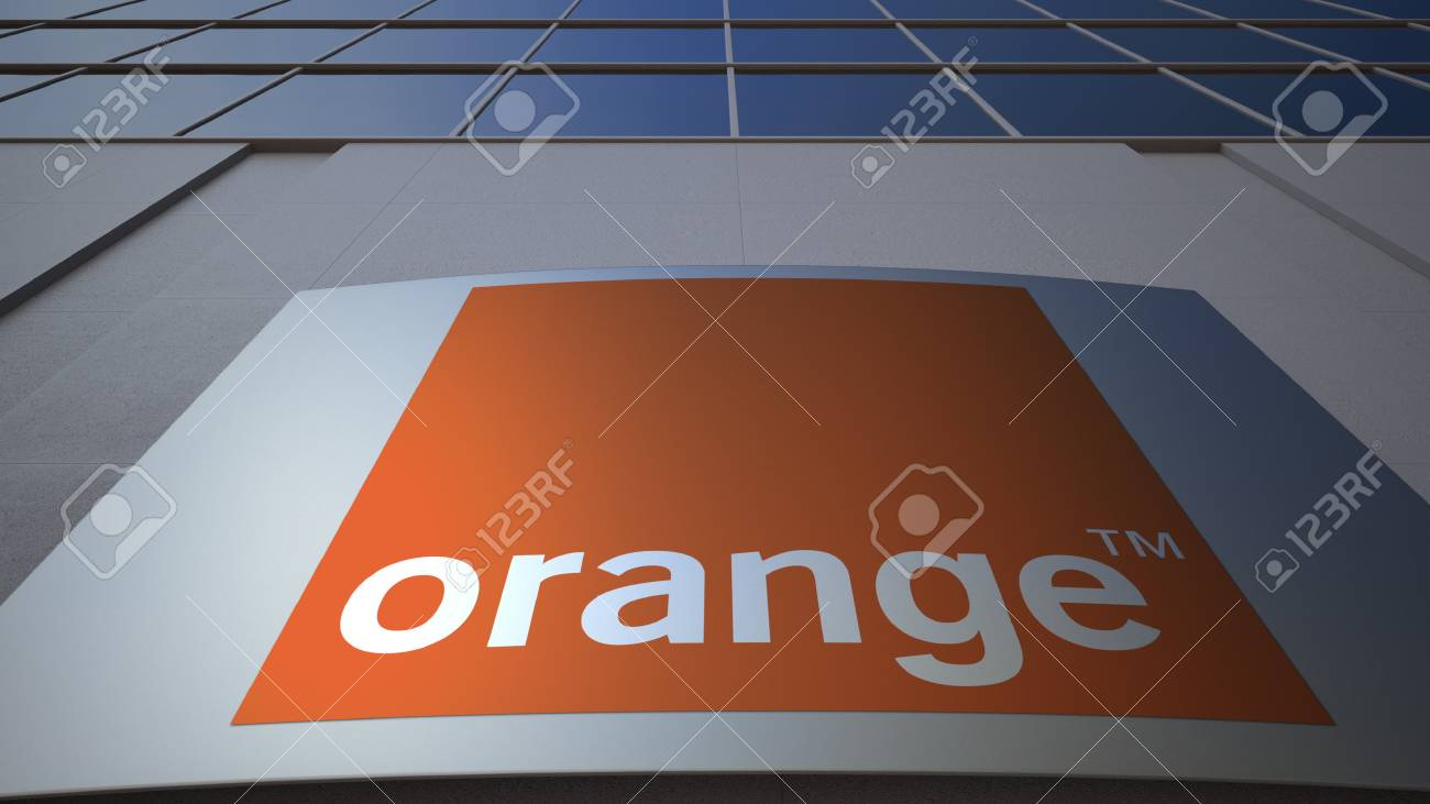 Outdoor Signage Board With Orange S.A. Logo. Modern Office Building ...