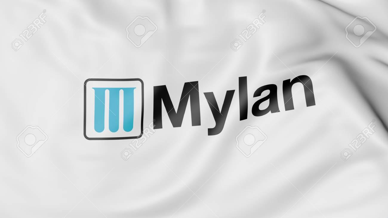 Waving flag with Mylan logo  Editorial 3D rendering