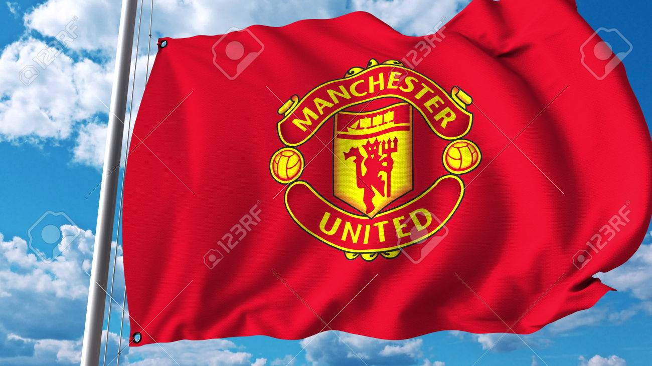 Waving Flag With Manchester United Football Team Logo. Editorial.. Stock  Photo, Picture And Royalty Free Image. Image 81254259.