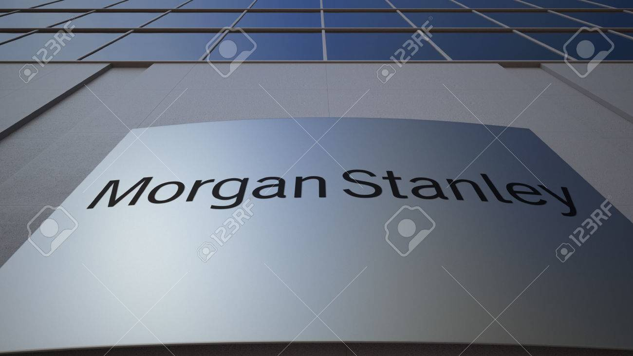 Outdoor signage board with Morgan Stanley Inc  logo  Modern office