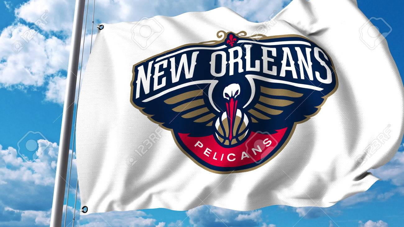 Waving Flag With New Orleans Pelicans Professional Team Logo
