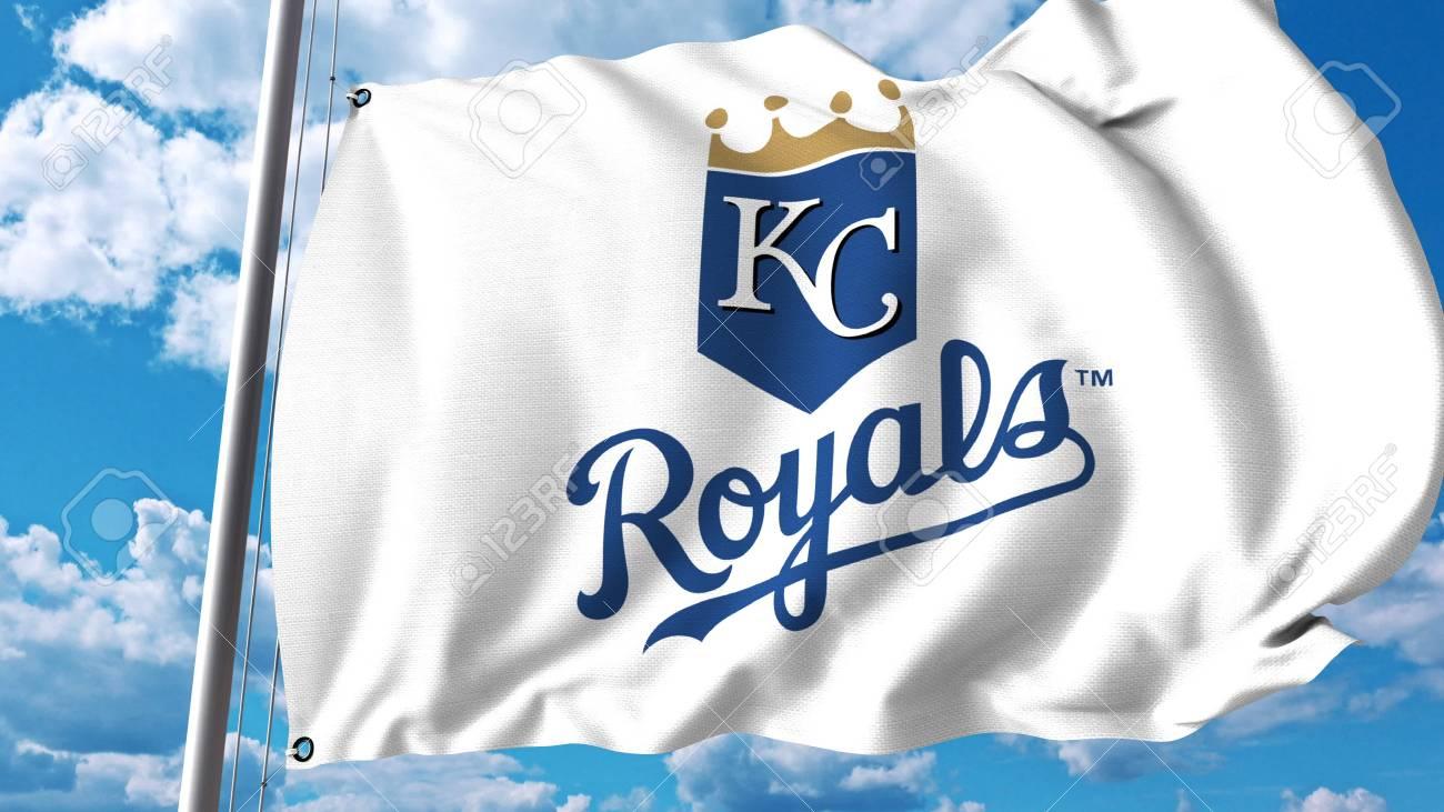 カンザスシティ ・ ロイヤルズのプロフェッショナルなチームのロゴと旗 ...