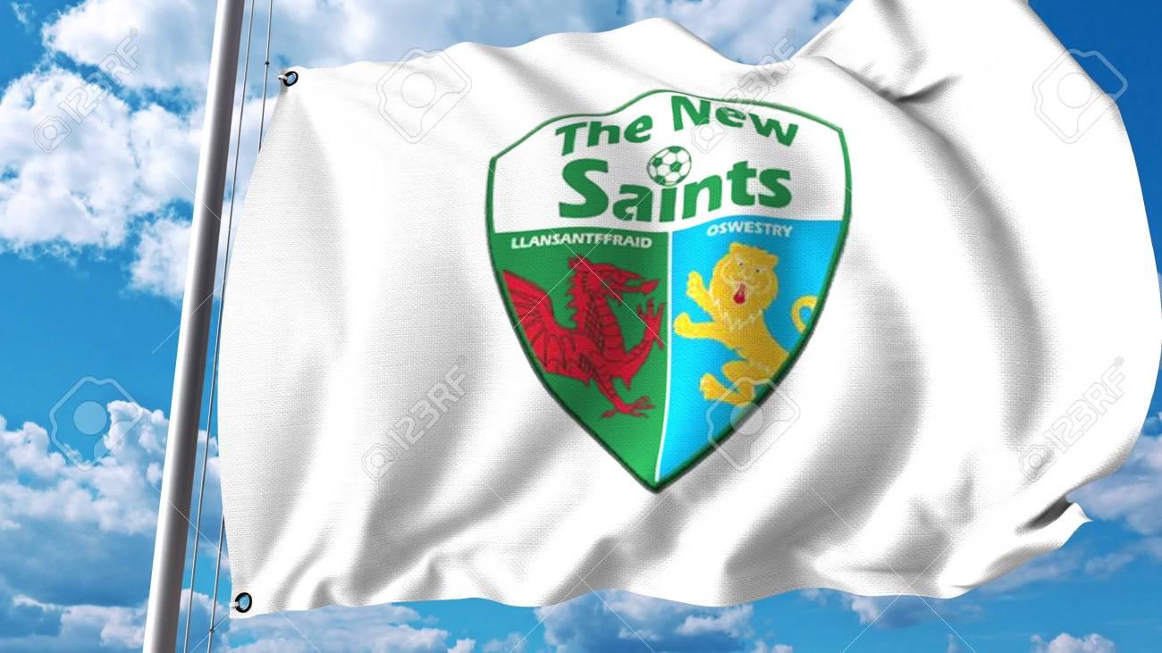 d57a62fd Waving flag with The New Saints football club logo. Editorial..