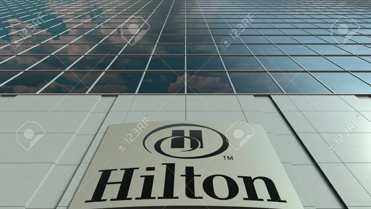 Signage Board With Hilton Hotels Resorts Logo Modern Office Stock