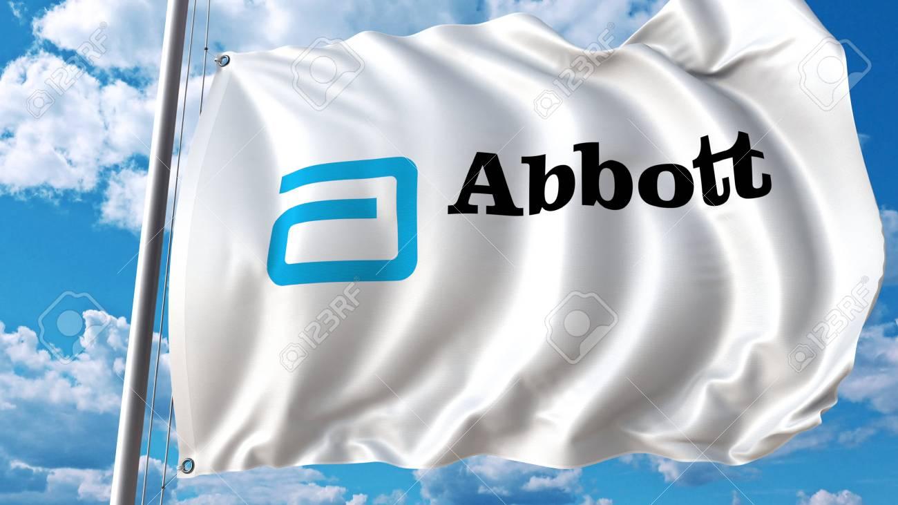 Waving flag with Abbott Laboratories logo  Editoial 3D rendering