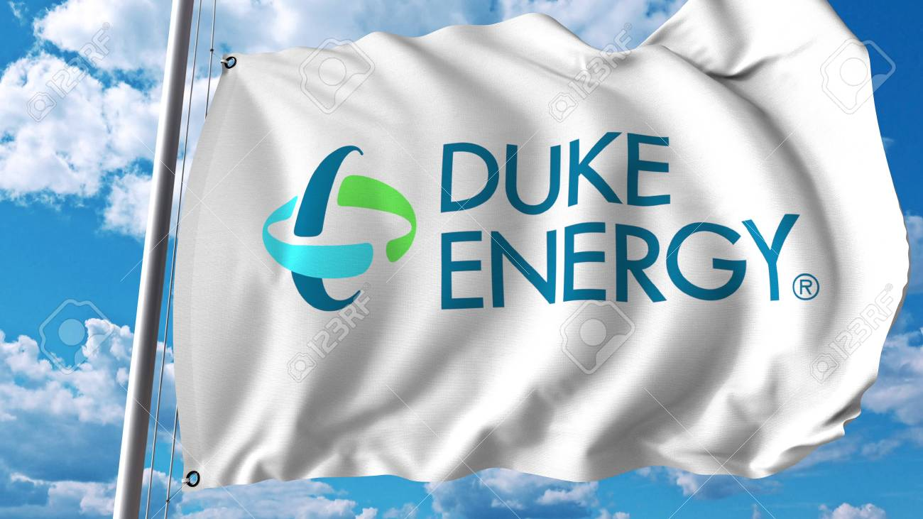 Waving flag with Duke Energy logo  Editoial 3D rendering