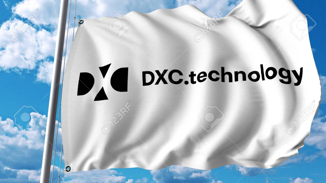 Waving flag with Dxc Technology logo  Editoial 3D rendering