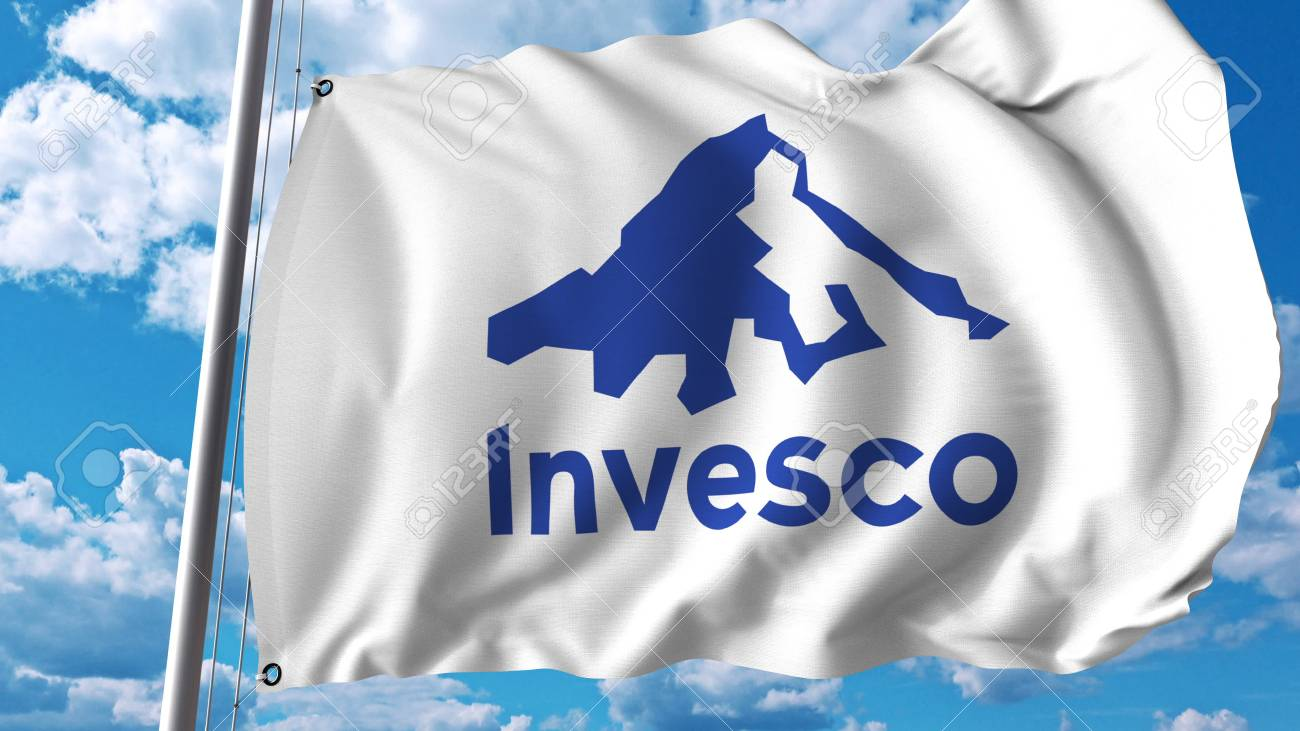 Waving Flag With Invesco Logo Editoial 3d Rendering Stock Photo
