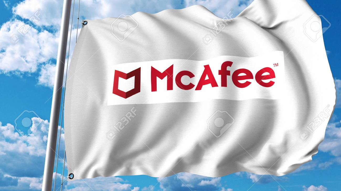 Waving flag with Mcafee logo  Editoial 3D rendering