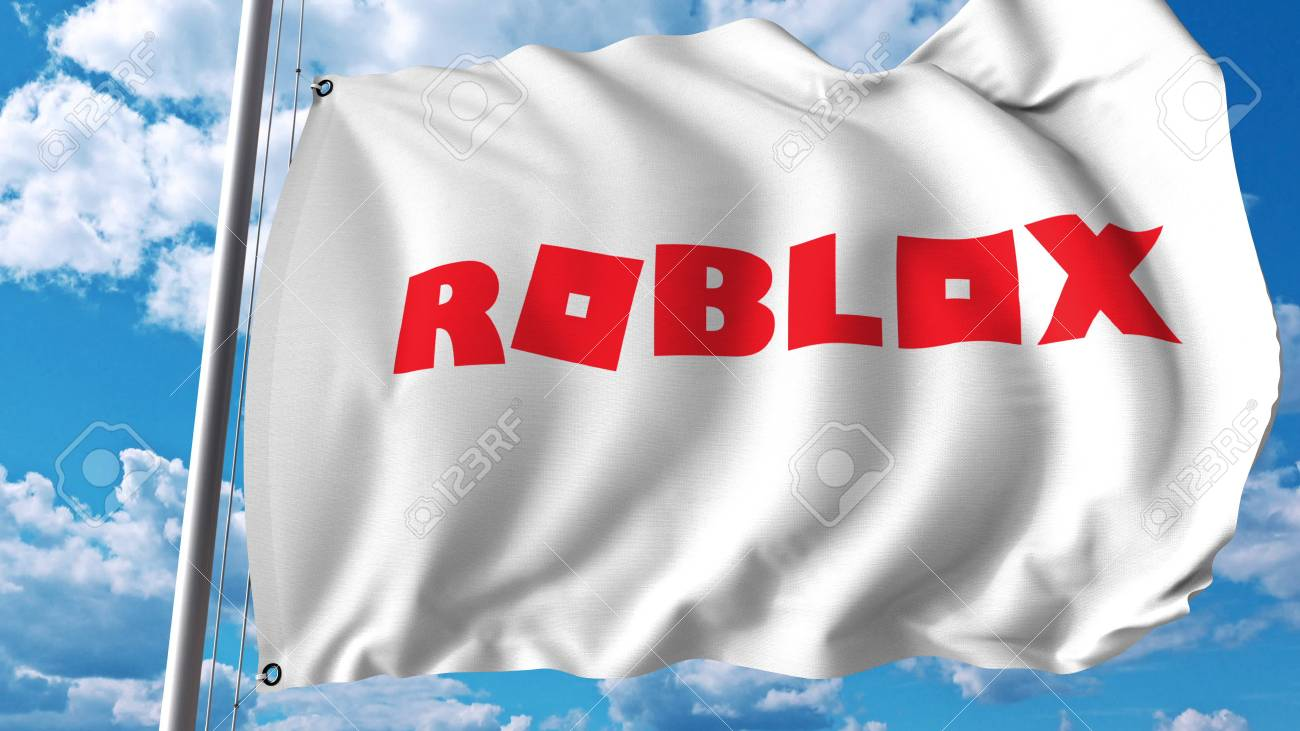 Waving flag with Roblox logo  Editoial 3D rendering