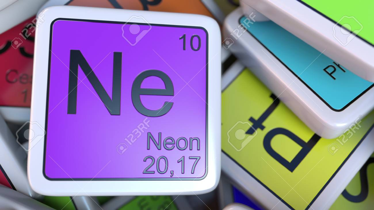 Neon block on the pile of periodic table of the chemical elements neon block on the pile of periodic table of the chemical elements blocks chemistry related urtaz Images