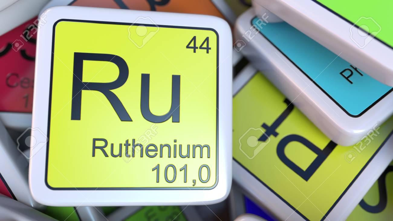 Ru ruten bloque en la pila de tabla peridica de los bloques de foto de archivo ru ruten bloque en la pila de tabla peridica de los bloques de elementos qumicos representacin 3d relacionada con la qumica urtaz Images