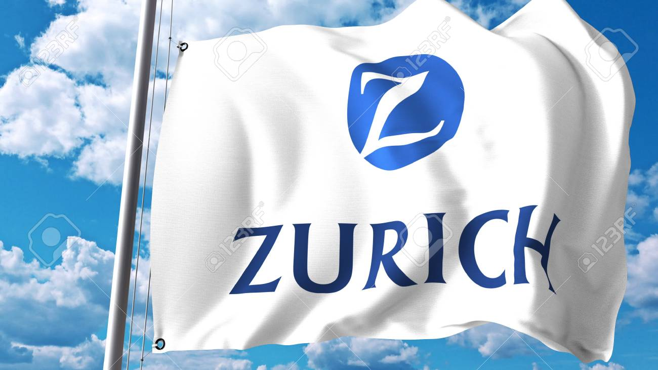 Waving Flag With Zurich Insurance Group Logo Against Clouds And