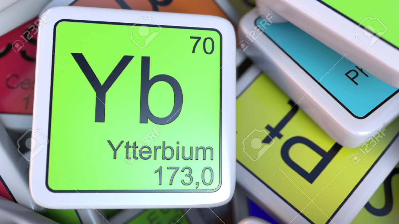 Ytterbium yb block on the pile of periodic table of the chemical stock photo ytterbium yb block on the pile of periodic table of the chemical elements blocks 3d rendering urtaz Images