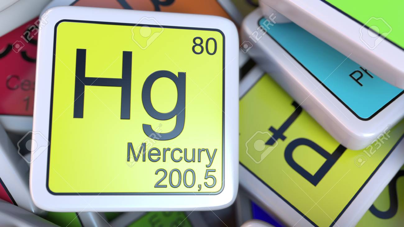 Mercury hg block on the pile of periodic table of the chemical mercury hg block on the pile of periodic table of the chemical elements blocks 3d urtaz Images