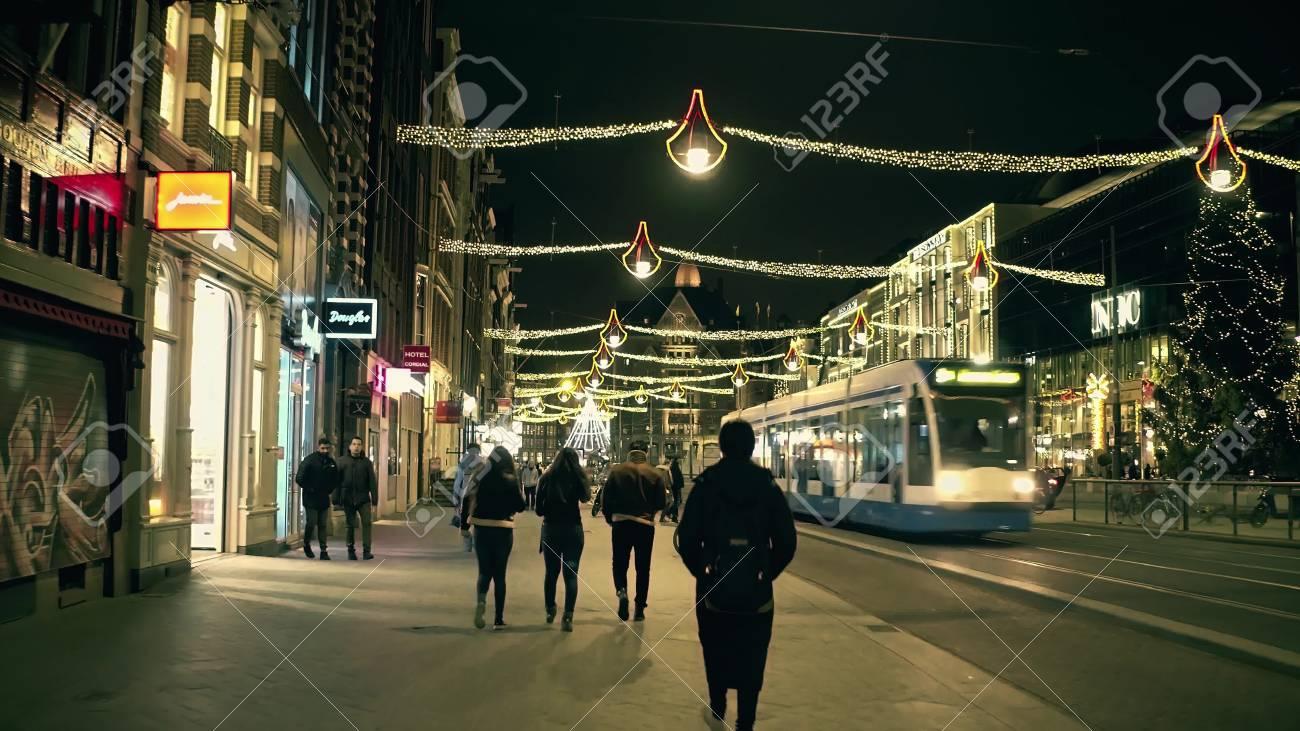 Amsterdam Die Niederlande 25 Dezember 2017 Poi Gehen Entlang Die