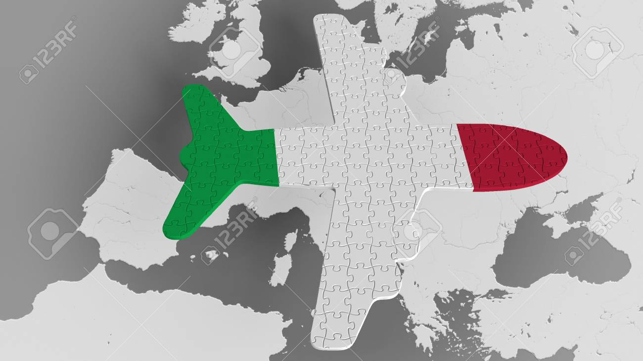 Airplane puzzle featuring flag of italy against the world map airplane puzzle featuring flag of italy against the world map italian tourism conceptual 3d rendering gumiabroncs Images