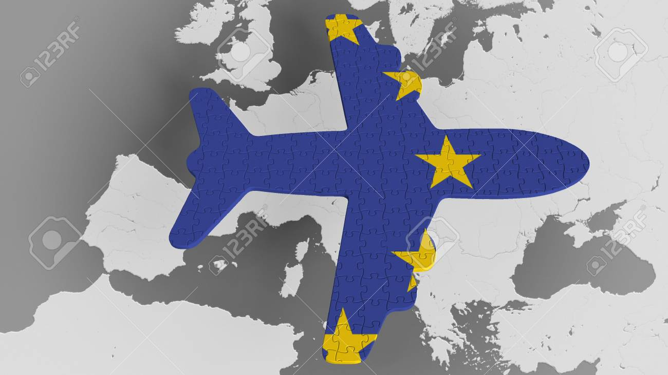 Airplane puzzle featuring flag of the European Union against..