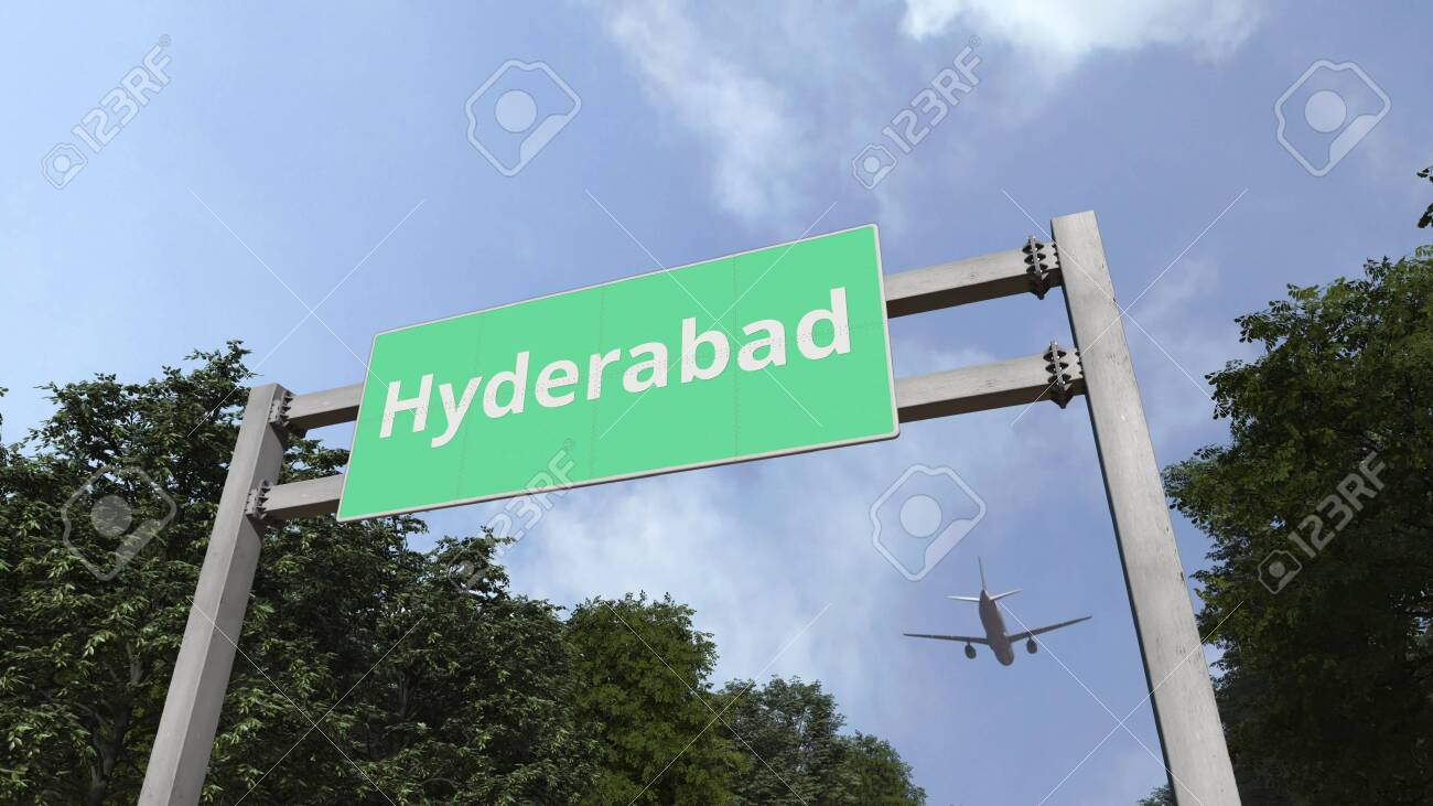 Commercial airplane arriving to Hyderabad, Pakistan  3D rendering