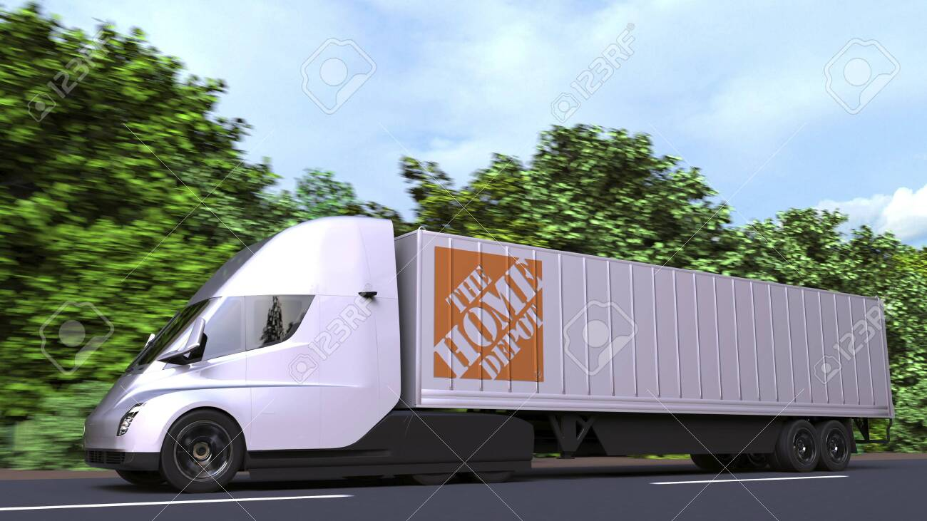 Electric Semi Trailer Truck With The Home Depot Logo On The Side Stock Photo Picture And Royalty Free Image Image 140915094
