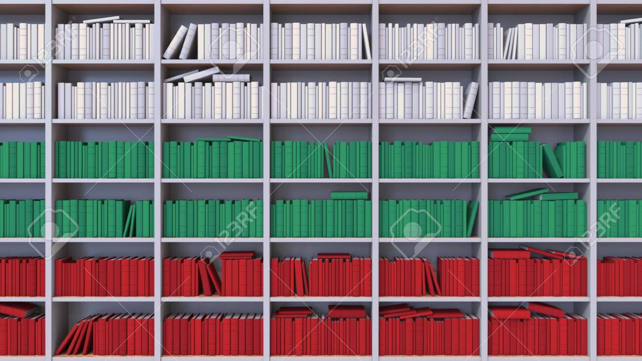 Many spines of the books form the flag. Literature, culture or science - 141500783