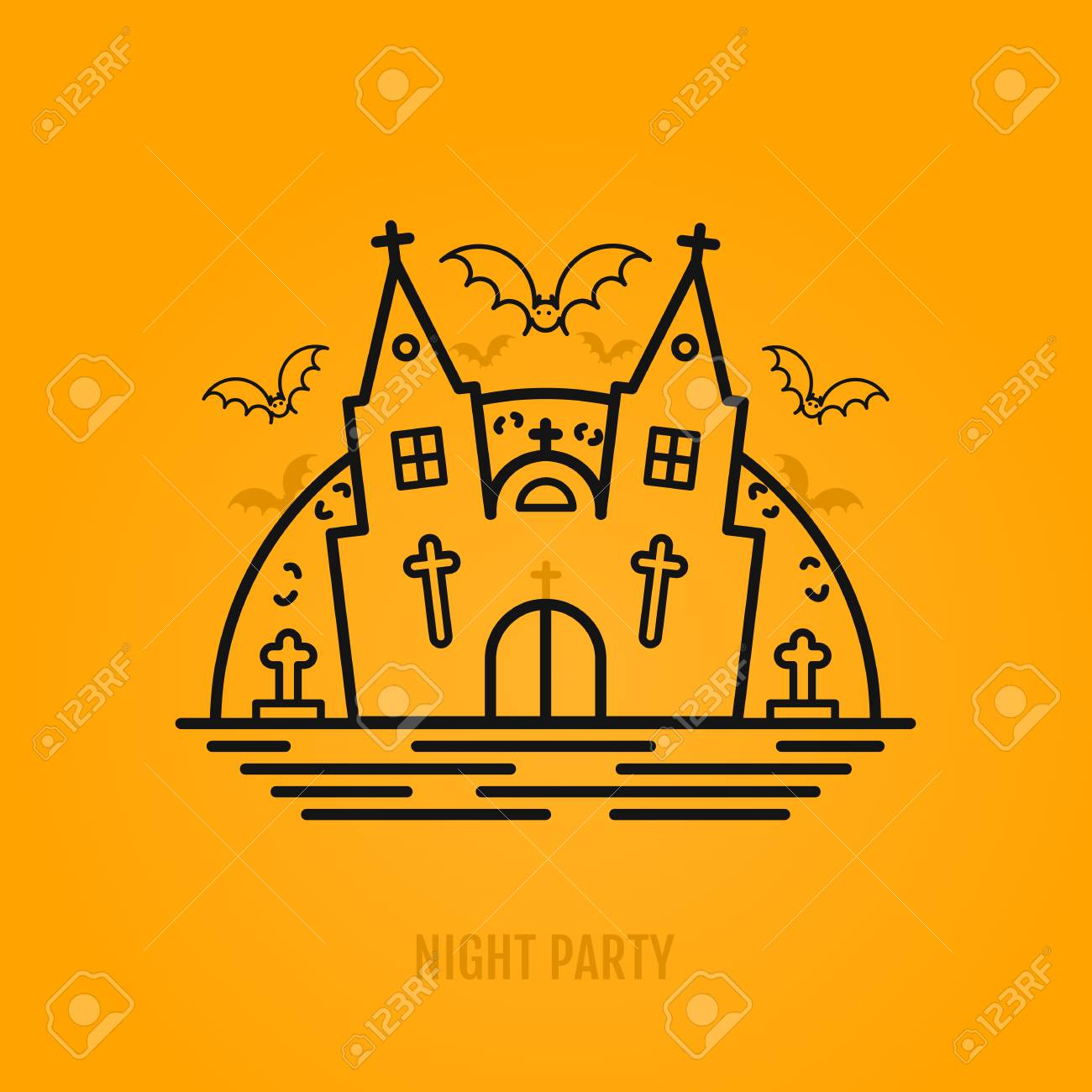 happy halloween concept with bats moon castle church and graves night party design