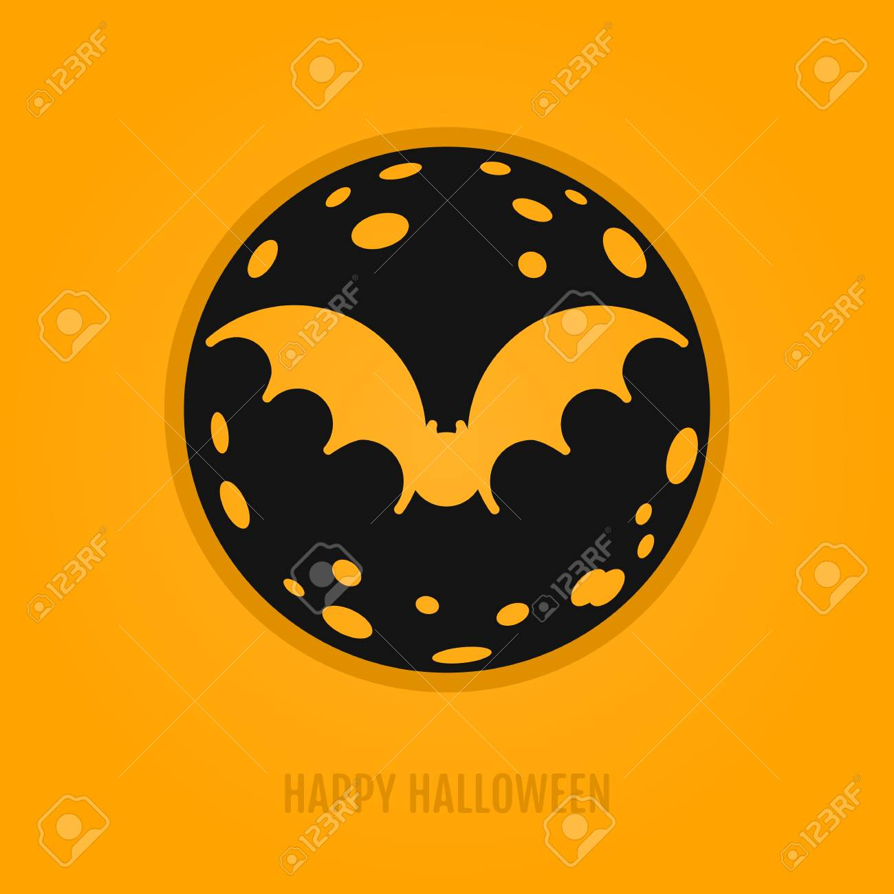 Happy Halloween Concept With Bat And Moon. Night Party Design For Banner,  Web Graphics