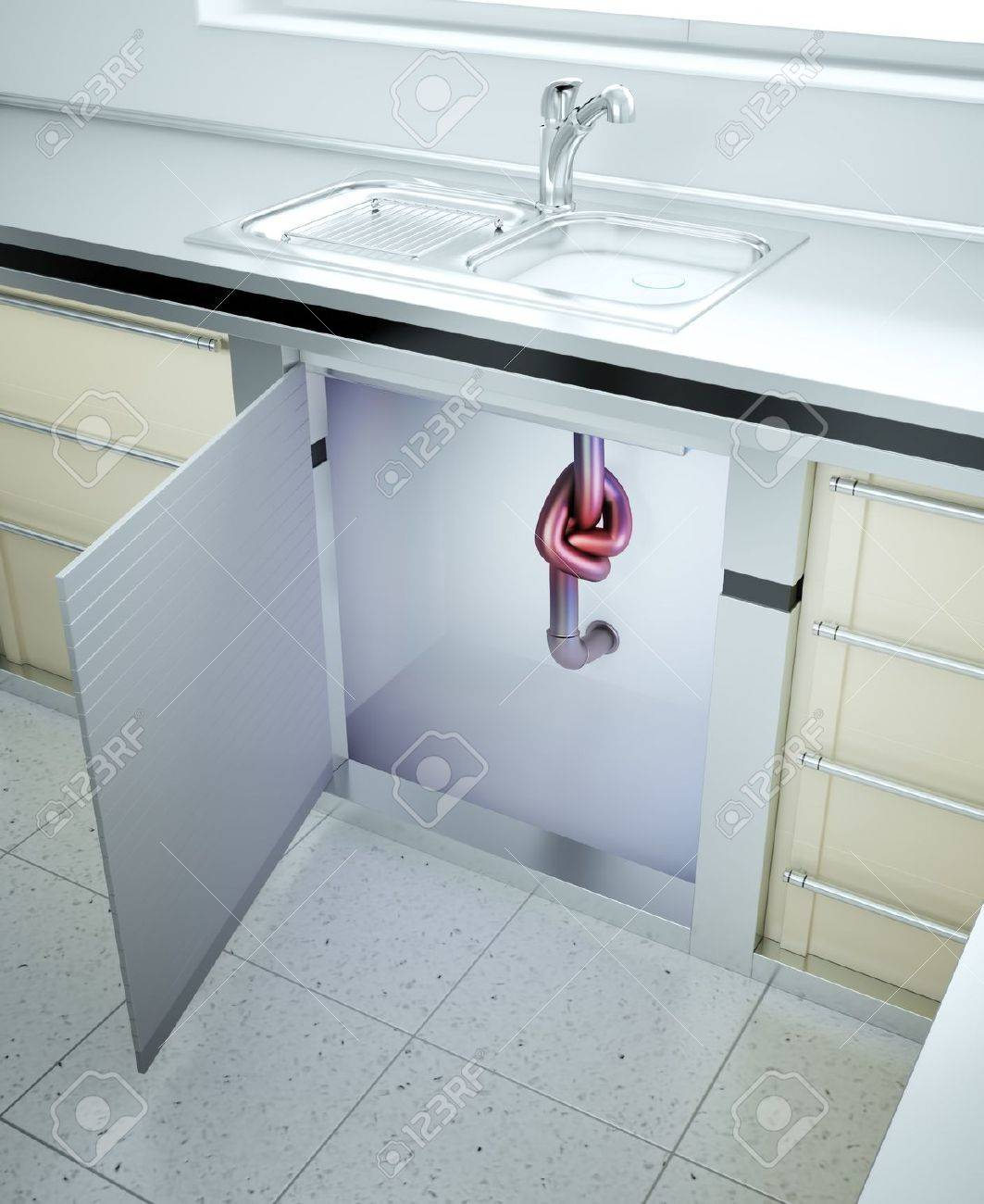 Clogged Sink - Drain Pipe With A Knot Stock Photo, Picture And ...