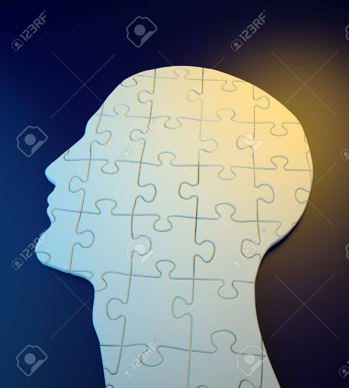 Human head build out of puzzle pieces Stock Photo - 14806888