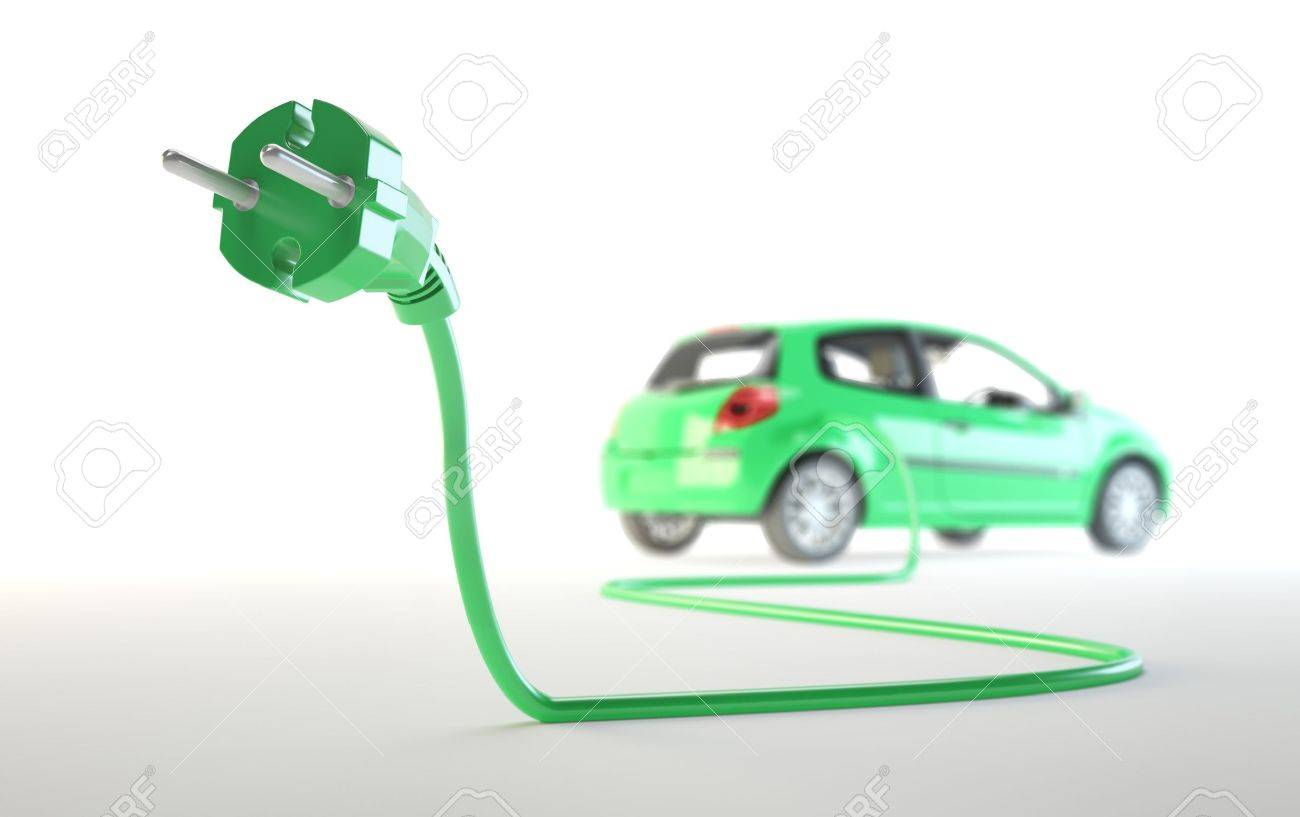 Electric car being plugged - EV transport concept Stock Photo - 14810261