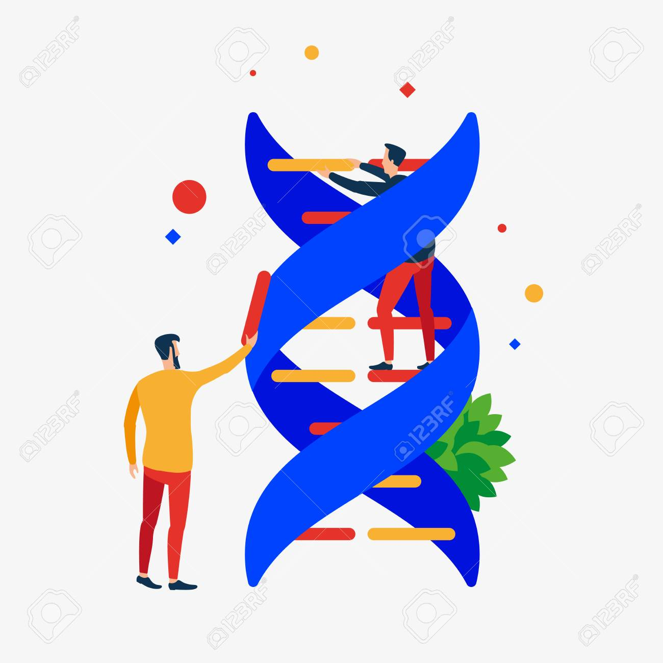 DNA correction. The repair process of the DNA helix. Vector illustration. Separate objects. - 102642121