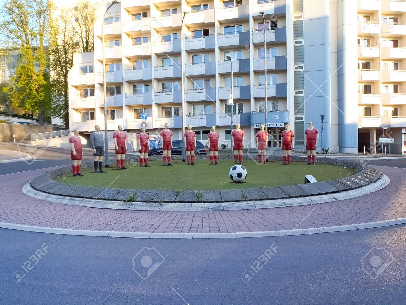 Kaiserslautern germany april 18 2015 statues of soccer players kaiserslautern germany april 18 2015 statues of soccer players are positioned on buycottarizona Image collections