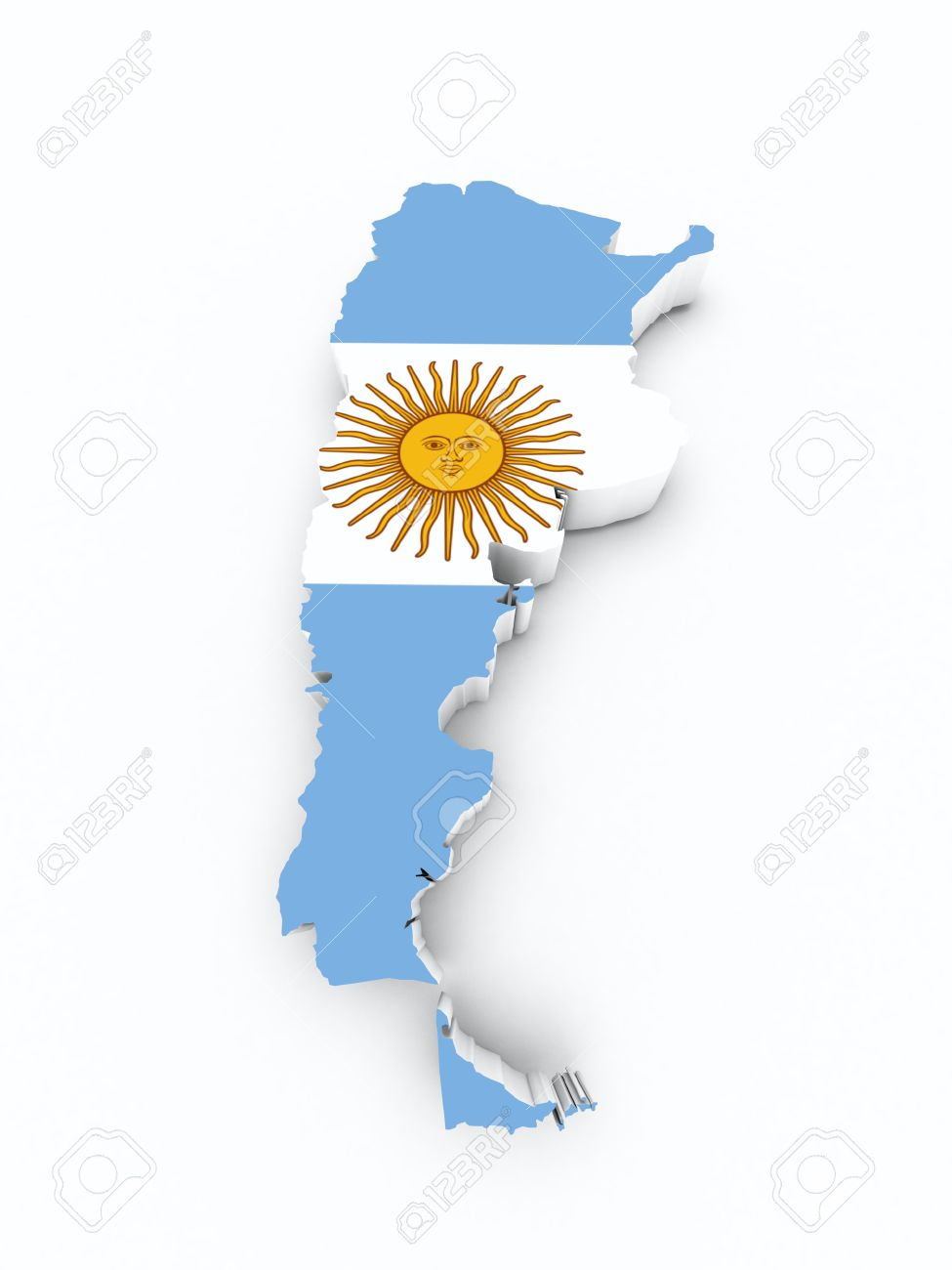 Argentina Flag On D Map Stock Photo Picture And Royalty Free - Argentina 3d map