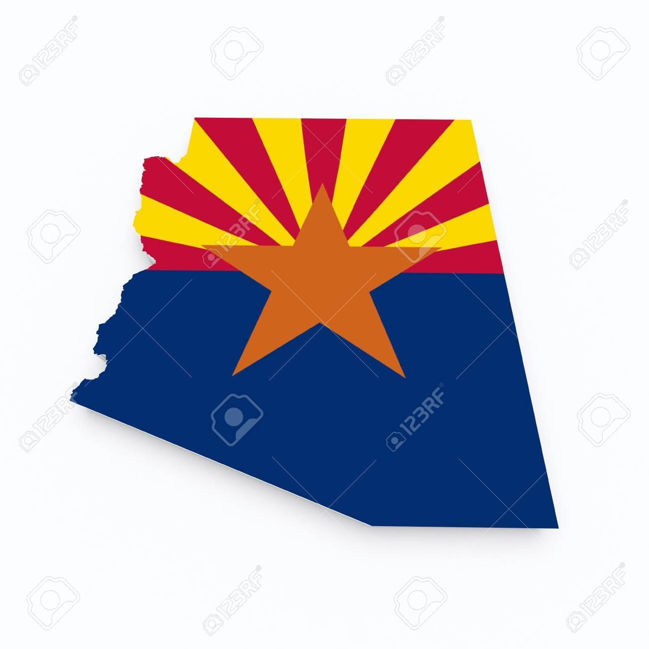 3d Map Of Arizona.Arizona State Flag On 3d Map